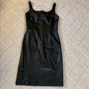 Ralph Lauren 100% leather black shift dress